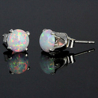 13 carats Fiery White Opal Crown Set Stud Post by 1000jewels