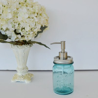 Mason Jar Soap Dispenser Blue Ball Perfect Mason Jar with Silver Soap Pump Pint Size Mason Jar Soap Dispenser