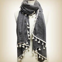 Grey large summer scarf in lightweight cotton with silk tassel fringe