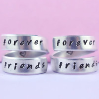 forever friends - Spiral Rings Set, Hand Stamped, Handwritten Font, Shiny Aluminum, Friendship, BFF