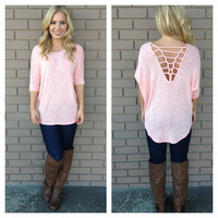 Pink Knit Net Back Top