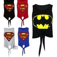 Superhero Crop Tie Front Top