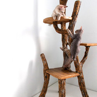 Cat Tree - Climb-a-Tree for Cat - Rustic handmade faux wood 3-tier cat tree outdoor indoor pet playground.