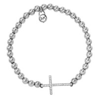 Michael Kors Pave Cross Bead Bracelet, Silver Color