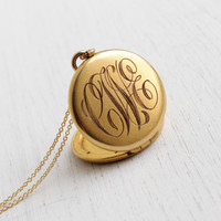 Vintage Monogrammed Locket Necklace - Antique 1940s Sweetheart Gold Filled Pendant / Initials LWE