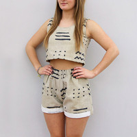 Handmade Aztec Doodles Shorts Set by Laura Ralph