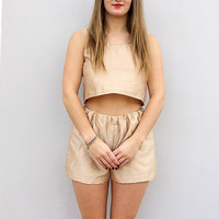 Handmade Golden Shorts Set by Laura Ralph