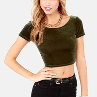 Velvet's Get Physical Olive Green Crop Top