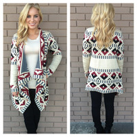 Ivory Fall Tetris Thick Knit Cardigan