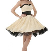 Sunvary Champagne and Black Lace Cocktail Dress Prom Gowns for Juniors Short