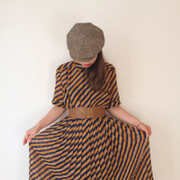 HOLD-Dark mustard and navy striped vintage dress, M, Japan
