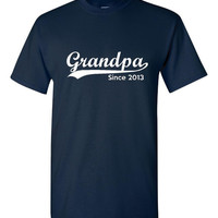 Grandpa Established 2013 Customized With Your Date Sleeve Heavy Cotton T Shirt Great Grandparents Gift Grandpa To Be Grandfathers Shirt