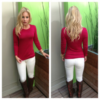 Burgundy Crew Neck Long Sleeve Rayon Top