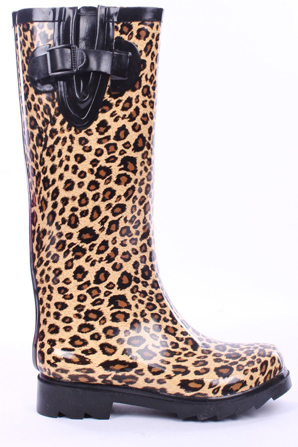 camel leopard print rubber knee high from pink basis