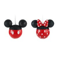 Hallmark Disney Mickey and Minnie Mouse Silhouettes Christmas Ornaments, Set of 2