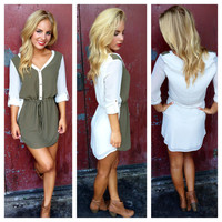 Olive Two Tone Drawstring Dress