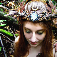 Goddess Magic Deer Antler Crown Enchanted Forest Fine Art Photography Autumn Fairy Greeting Card HARVEST MOON PRINCESS by Spinning Castle