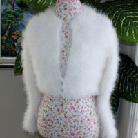 Made to Order/ Handmade SUPER FLUFFY Kate Middleton in IVORY Angora Rabbit Shrug / Bolero Sizes to Choose from
