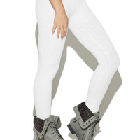 Cable Brushed Fleece Back Legging | Wet Seal