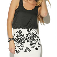 Micro-Beaded 2fer Tank Bodycon Dress | Wet Seal