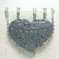 Heart Shaped Puzzle Necklaces Set of 6 Interlocking Necklaces Polymer Clay With Hearts Made To Order