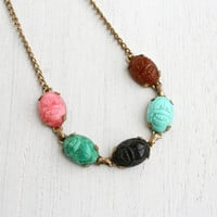 Vintage Scarab Necklace - 1940s Lucite Colorful Stone Brass Egyptian Revival Jewelry / Faux Semi Precious Stone Beetles