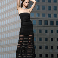 Alexis EXCLUSIVE Strapless Mesh Maxi Dress: Black-All-Exclusives-Categories- IntermixOnline.com