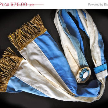20% OFF SALE BEAUTIFUL Antique 1920s Blue & White German large Ceremonial Sash w Rosettes Gold fringe Beauty Queen Parade Marching Girl Fa