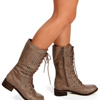 Beige Lace Up Side Stud Combat Boots