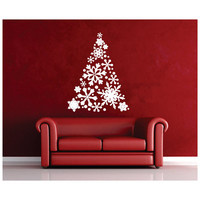 Snowflake Christmas Tree Vinyl Wall Decal 22358