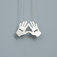 High Five Club - high five hands necklace in sterling silver