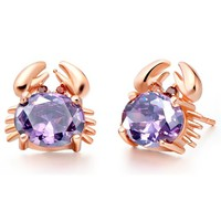 18K Rose Gold Plated Cute Crab Purple Crystal Stud Earrings