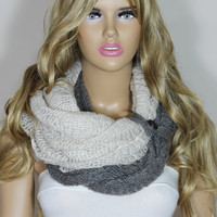 Cozy Knit Fabric Scarf Gray White Magic Scarf, Capalet, Neck Warmer, Hooded Scarf For Her For Mom ESCHERPE