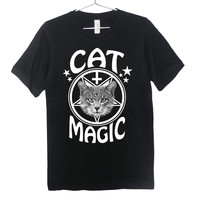 Cat Magic Occult T-Shirt | White on Black | Killer Condo Apparel