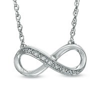 Diamond Accent Infinity Necklace in Sterling Silver