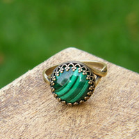 Malachite Ring - Green Stone Ring on Antiqued Brass - Gold Malachite Ring