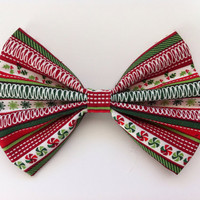 Christmas Striped Hair Bow