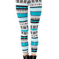 Aztec Leggings (Teal/Black)