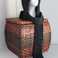 Chunky Hooded Scarf - Acrylic/Wool - Charcoal