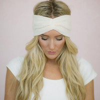 Ivory Thermal Knit Headband Ear Warmer - Women's Knitted Stretchy Turban (HB-29)