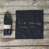 Handkerchief of Indigo Linen -Take Your Time Loving Me