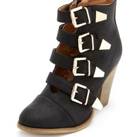 BUCKLED THICK HEEL ANKLE BOOTIE
