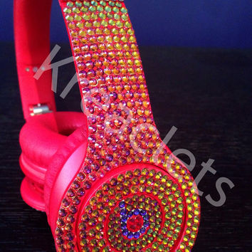 Swarovski Crystal - Drenched in Color - Beats by Dre Solo - Red (New Headphones Included)