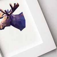 Geometric illustration, Moose head, Animal print, Original illustration