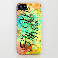 FLY ME TO THE MOON - Rainbow Bold Galactic Outer Space Orbit Stars Abstract Fine Art Typography iPhone & iPod Case by EbiEmporium