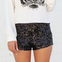 High Waist Black Sequin Shorts