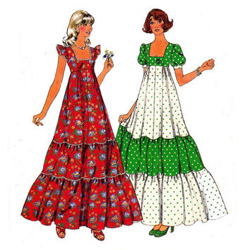 1970s Maxi Tiered Peasant Dress Vintage Sewing pattern Style 1169 Size 10 Bust 32 1/2