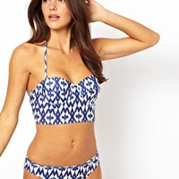 South Beach Print Longline Bikini Top