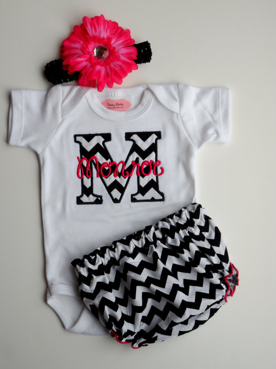 Chevron Personalized Baby Girl Clothes from LilMamas on