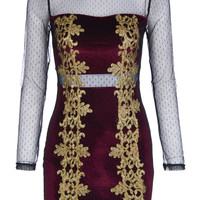 ROMWE | ROMWE Sheer Long-sleeved Burgundy Velvet Dress, The Latest Street Fashion